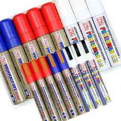 Best of British Waterproof Pens - White, Red and Blue.  Water-based pigment ink, 6mm or 15mm Nibs.   Easily Removed with Eazikleen Cleaner.   From just £11.90  #chalkboard #blackboard #chalkpen #markerpen #glasspen  www.chalkpensuk.com