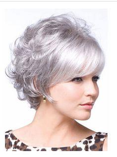 Envío gratis Corto Y Rizado Blanco Plata Peluca con Flequillo de Alambre de Alta Temperatura Nuevo estilo Bob pelucas Sintéticas para mujeres
