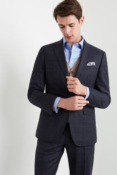 Discover the latest men's suits from Ted Baker, DKNY, French Connection and more. Shop single and double breasted suits in a range of styles. Suits You, Mens Suits, Moss Bros, Checked Suit, Fitted Suit, Wool Suit, Jacket Buttons, Double Breasted Suit, Pocket Square