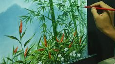 Acrylic Landscape Painting Lesson - Bamboos on Misty Mountains by JMLiso...