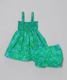 Loving this Green & Blue Floral Halter Dress & Bloomers - Infant & Toddler on #zulily! #zulilyfinds