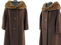 WOOL COAT MOHAIR VINTAGE MINK FUR COLLAR 50s  Size Bust 48#vintagecoat#boliedwooland mink