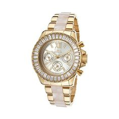Invicta Angels Multi-Function Gold Dial Gold-plated and Horne Acetate... ($134) ❤ liked on Polyvore