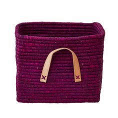 Small Square Basket with Leather Handles in Raffia 30 x 30 x 25 cm. - Rice A/S Ikea, Square Baskets, Leather Handle, Louis Vuitton Damier, Two By Two, Pink, Pattern, Creative, Room
