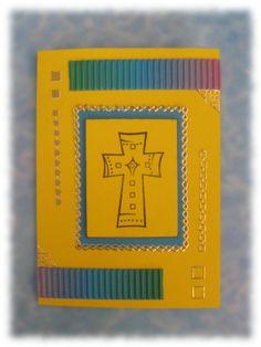Kommunionkarte, Einladung zur Kommunion von indiaKreativ auf DaWanda.com   Kommunionkarte, Einladung, Glückwünsche zur hl. Kommunion, Einladungskarte in blau gelb gold ,Kreuz