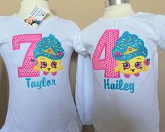 Shopkins Cupcake Birthday Shirt Applique, Embroidery, Bright Colors, Custom Creation, Personalized Tshirt Shopkins Birthday Shirt, Shopkins Shirt, Shopkins Bday, Birthday Shirts, Hawaiian Birthday, 3rd Birthday, Birthday Parties, Birthday Ideas, Hello Kitty Cake