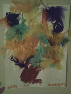 Hand print Turkey-let them glue on  the feathers! (Zy2013) #Thanksgiving