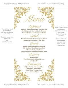 Autumn Motif Menu Card  Fall Maple Leaf  Thanksgiving Wedding