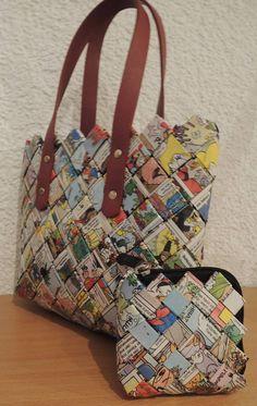 Recycling, Taschen, Flechttasche, upcycling, Zeitschriften, candy wrapper, Kaffeetüten