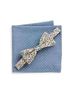 Aether Floral Bow Tie & Striped Pocket Square Set - SaksOff5th