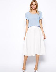 $60, White Skater Skirt: Love Midi Skater Skirt. Sold by Asos. Click for more info: https://lookastic.com/women/shop_items/224400/redirect