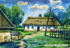 Жизнь в Галушковке Холст масло краски дипломная работа  Украинский пейзаж с хатой акварель Уроки акварели Бумага А 3 акварельные краски Обучение техники акварели в Днепропетровской школе рисования