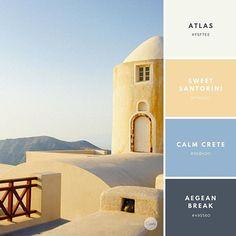 Color combination: Coastal Clear. Atlas: #F5F7EE Sweet Santorini: #F7DAA2 Calm Crete: #98B4D0 Aegean Break: #495560