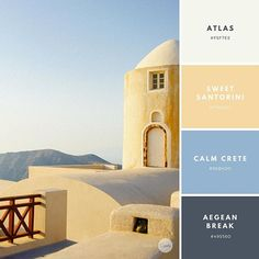 Color combination: Coastal Clear. Atlas: #F5F7EE Sweet Santorini: #F7DAA2 Calm Crete: #98B4D0 Aegean Break: #495560