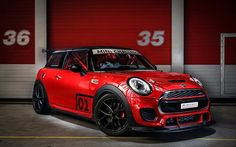 MINI Cooper, 2016, F56, red Cooper, black wheels, tuning MINI