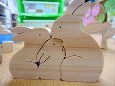 Family of three rabbits
