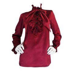 1979 Haute Couture Silk Yves Saint Laurent Top 1