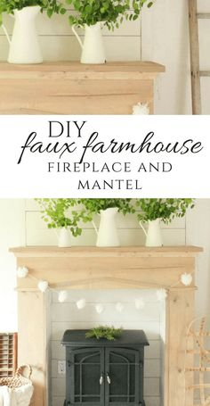 Add warmth, character and style to your home with this easy farmhouse style DIY fireplace and mantel. Raw wood, shiplap, and a freestanding fireplace! via # DIY Home Decor farmhouse style DIY Faux Farmhouse Style Fireplace and Mantel Faux Fireplace Mantels, Diy Mantel, Wooden Fireplace, Freestanding Fireplace, Farmhouse Fireplace, Fireplace Decorations, Fireplaces, Fireplace Ideas, Mantal Decor