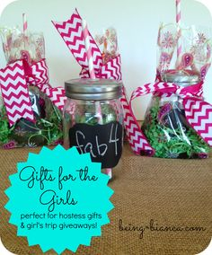 Easy gift idea for the girls - makes a great remembrance for a girl's trip, teachers and friends! Cute chalkboard label mason jars do the trick!