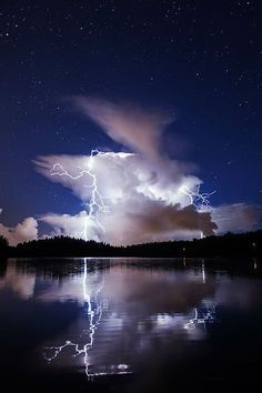 Lake lightning storm sky night clouds stars lightning lake amazing view reflection