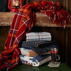 Faribault Candy Stripe Wool Throw, Heather Gray