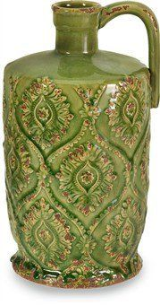 "Imax Green Rebecca Pitcher Vase by IMAX. $44.06. Bright, cheerful intricately patterned ceramic vases. Will bring a welcome splash of style and color and to any decor. Available in three sizes and colors, group the three together for additional impact.. Green measures 12.25""h by 6.5""d. Vase features a beautiful bright glaze that has been expertly hand-antiqued for a shabby-chic effect. With bright colors, intricate patterns, and Moroccan flair, The Rebecca Collect..."