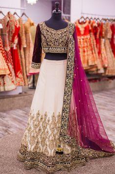 Plum and champagne white Punjabi wedding gown