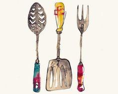 kitchen artwork; watercolor kitchen utensils