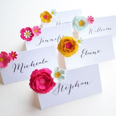 Set Of Six Handmade Paper Flower Placecards