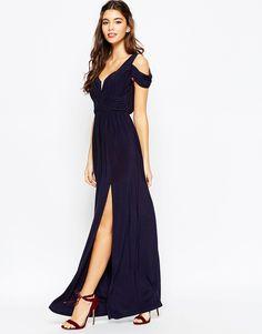 Image 1 ofASOS WEDDING Drape Cold Shoulder Maxi Dress