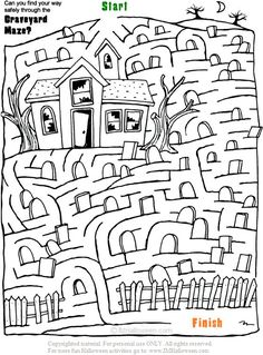 Spooky Halloween Haunted House Maze to print out and color