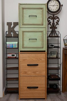 Cheap laminate file cabinet painted with chalk paint; before and after