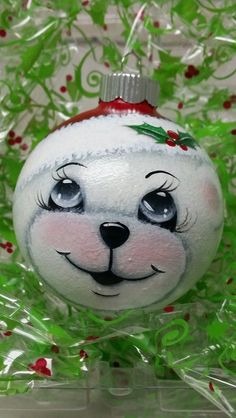 This little fella Teddy Bear ornament is a perfect gift for Christmas. Painted Christmas Ornaments, Hand Painted Ornaments, Noel Christmas, Christmas Baubles, Diy Christmas Gifts, Holiday Ornaments, Christmas Projects, Christmas Crafts, Christmas Decorations