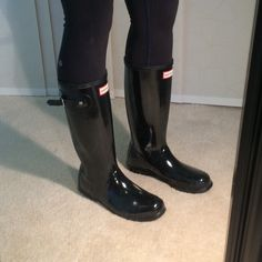(taking offers) Hunter Black Glossy Rain Boots size 6, NWOT, still unsure if I want to sell them so feel free to make offers, silver reflectors on the back, buckle on the outside of each boot, kids size but fit a 7-7.5 in women's, shorter in length and will hit around the calf instead of below the knee so better if you're petite! Hunter Boots Shoes Winter & Rain Boots