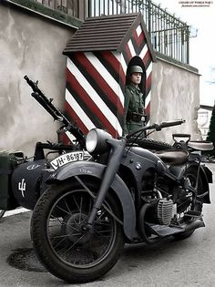 German soldier with BMW motorcycle
