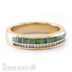 Alternative Opal, Diamond and Rose Gold Wedding Band | The Alchemy Bench #BridalTransformed