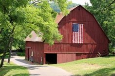 Attractive New Red Barn With American Flag