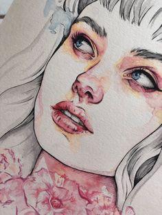 Woman portrait, aquarela, watercolor Gabriel, Charcoal, Watercolor, Photo And Video, Artist, Painting, Inspiration, Instagram, Biblical Inspiration