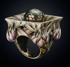 Faceted Tahitian pearl, plique-à-jour enamel and gold ring, by Ilgiz Fazulzyanov.