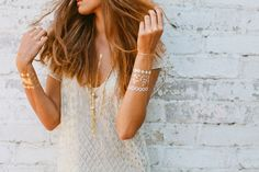 LOVE golden metallic temporary tattoos!