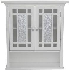 White Wall Cabinet Shelf Gl Doors Bathroom Linen Towel Medicine Decor Hanging Dekor44