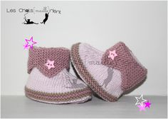 Chaussons bébé fille en tricot, rose clair et vieux rose / Hand-knitted baby booties