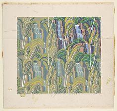 Poplars and Waterfalls, Rockwell Kent, c. 1950. Metropolitan Museum of Art. (Wallpaper design? Fabric design?)