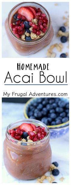 Simple homemade Acai bowl- these are so creamy and refreshing and packed with antioxidents.  Perfect healthy breakfast or afternoon snack!