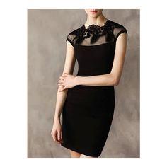 Black Cap Sleeve Contrast Gauze Bodycon Dress (€53) ❤ liked on Polyvore