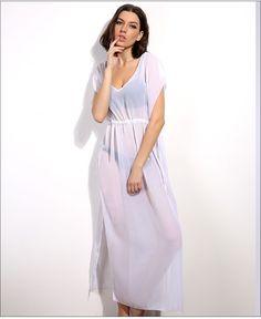 42e0bcd2ce Women Swimsuit Cover Ups Mandarin Sleeve Kaftan Beach Tunic Dress Robe De  Plage Solid White Cotton Pareo Beach Cover Up  Q429