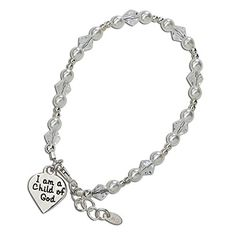"""Girls Bracelet, Large 6-13 Years, Sterling Silver """"I am a Child of God Bracelet"""" Beautiful sterling silver bracelet for girls with Swarovski Imiation pearls and crystals and """"I am a Child of God"""" Heart Charm. Perfect Baptism or First Communion Gift! CM001 http://www.amazon.com/dp/B011J657EM/ref=cm_sw_r_pi_dp_xiadwb008ZWX3"""