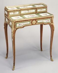 Small writing desk (Bonheur du jour) (one of a pair)  Attributed to Martin Carlin (French, near Freiburg im Breisgau ca. 1730–1785 Paris)  Factory: Porcelain plaques by Sèvres Manufactory (French, 1740–present) Decorator: Plaques decorated by Denis Levé (active 1754–93, 1795–1805) Date: ca. 1768
