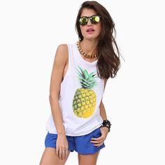 ]Pineapple Print White Tank Top Muscle T Shirt