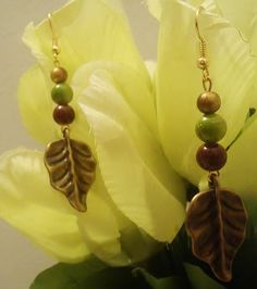 Green & Brown Leaf Earrings by SpellbindingJewelry on Etsy, $13.00